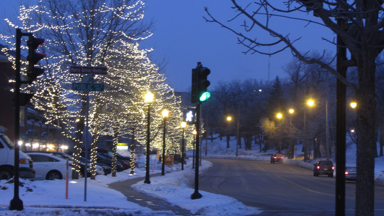 Riverside Drive, lit up for Christmas Beloit wisconsin