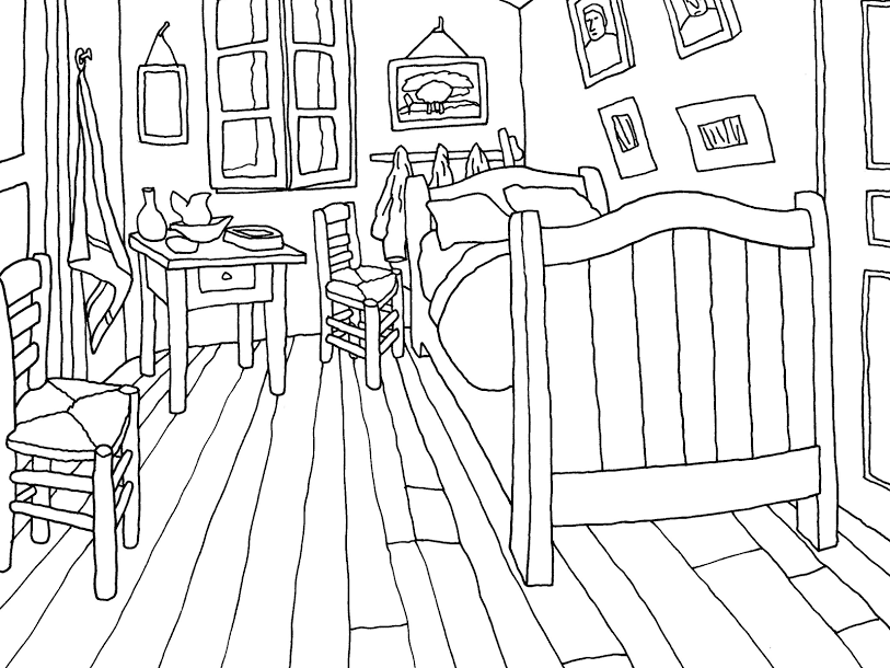 colouring page of the bedroom van gogh museum - Van Gogh Coloring Book