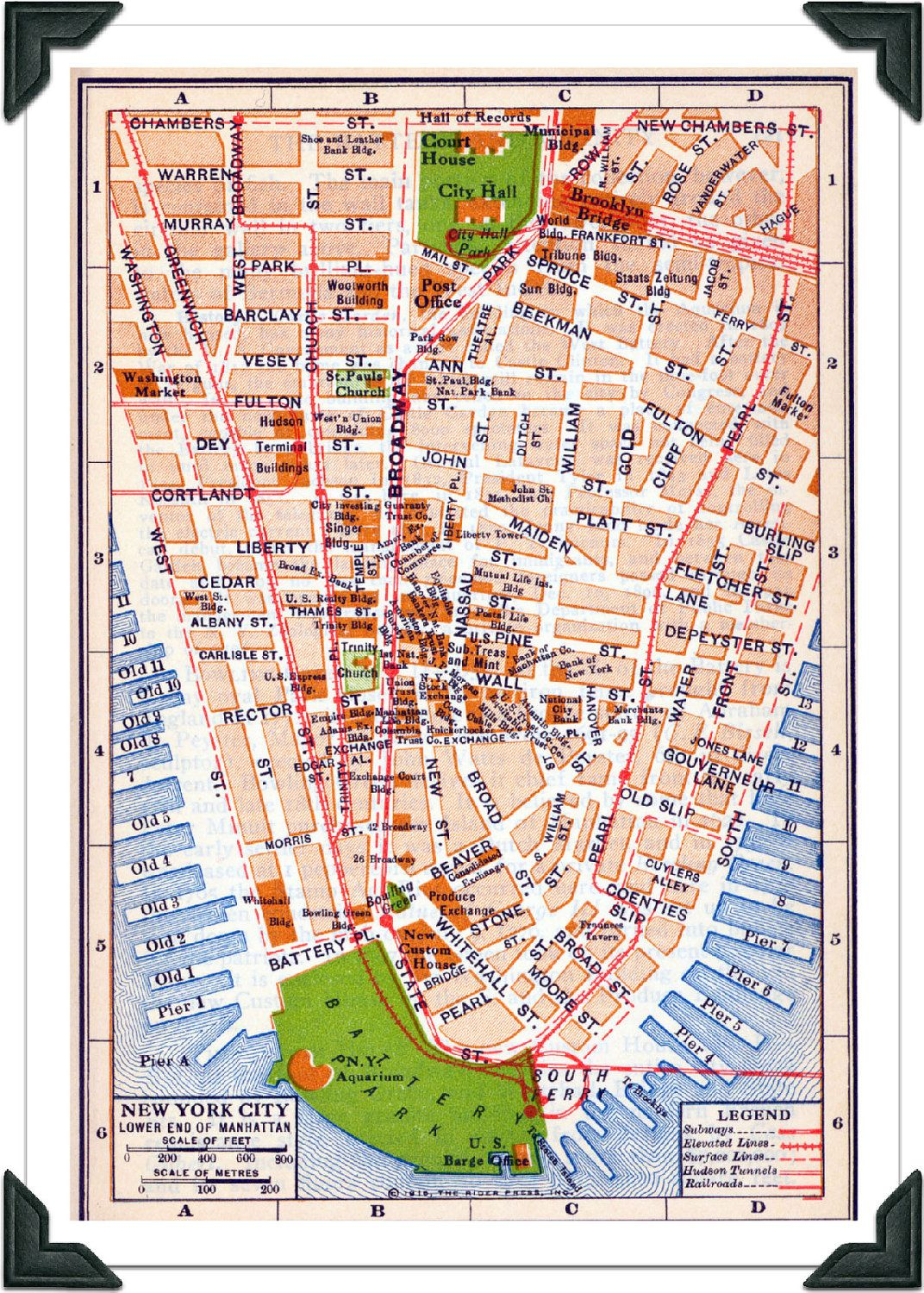 New York City Vintage Map Nyc Atlas Map Lower By Exlibrisjournals
