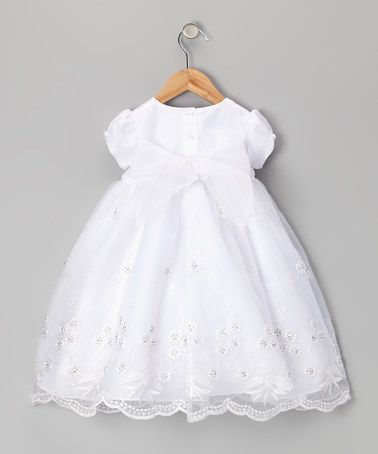 f9de40b88 Gorg Christening gown! White Embroidered Floral Dress & Bonnet - Infant &  Toddler by Lida