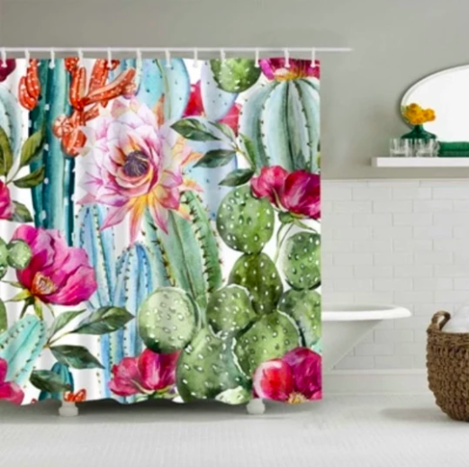 Cactus Flower Fabric Shower Curtain Cactus Shower Curtain