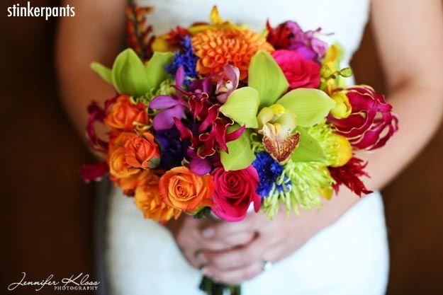 Very Vibrant Fun Bouquet With Cymbidium Orchids Vanda Glorisa Lillies Spray Roses Dahlias And Fuji Mums Hot Pink
