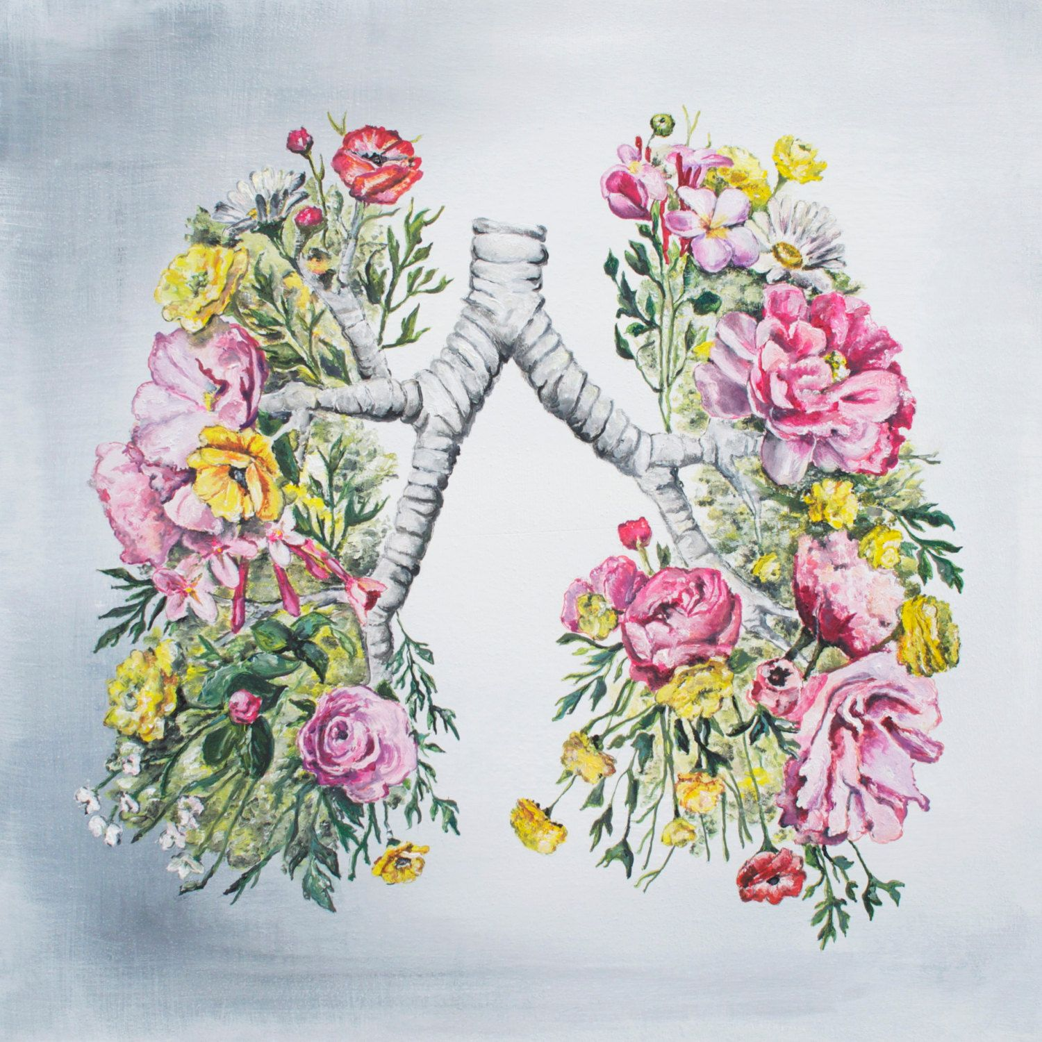Floral Anatomy: Lungs Print of Oil Painting - Anatomical Art Print ...