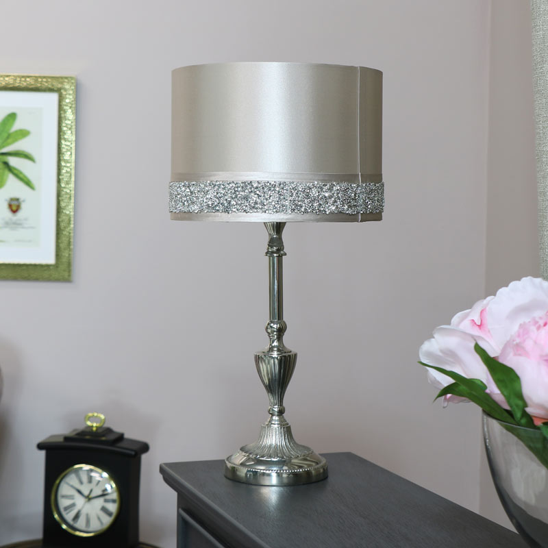 Silver Table Lamp With Pink Glitter Shade Melody Maison Lamp Lighting Silver Decor Home Silver Living Room Decor Silver Table Lamps Silver Living Room