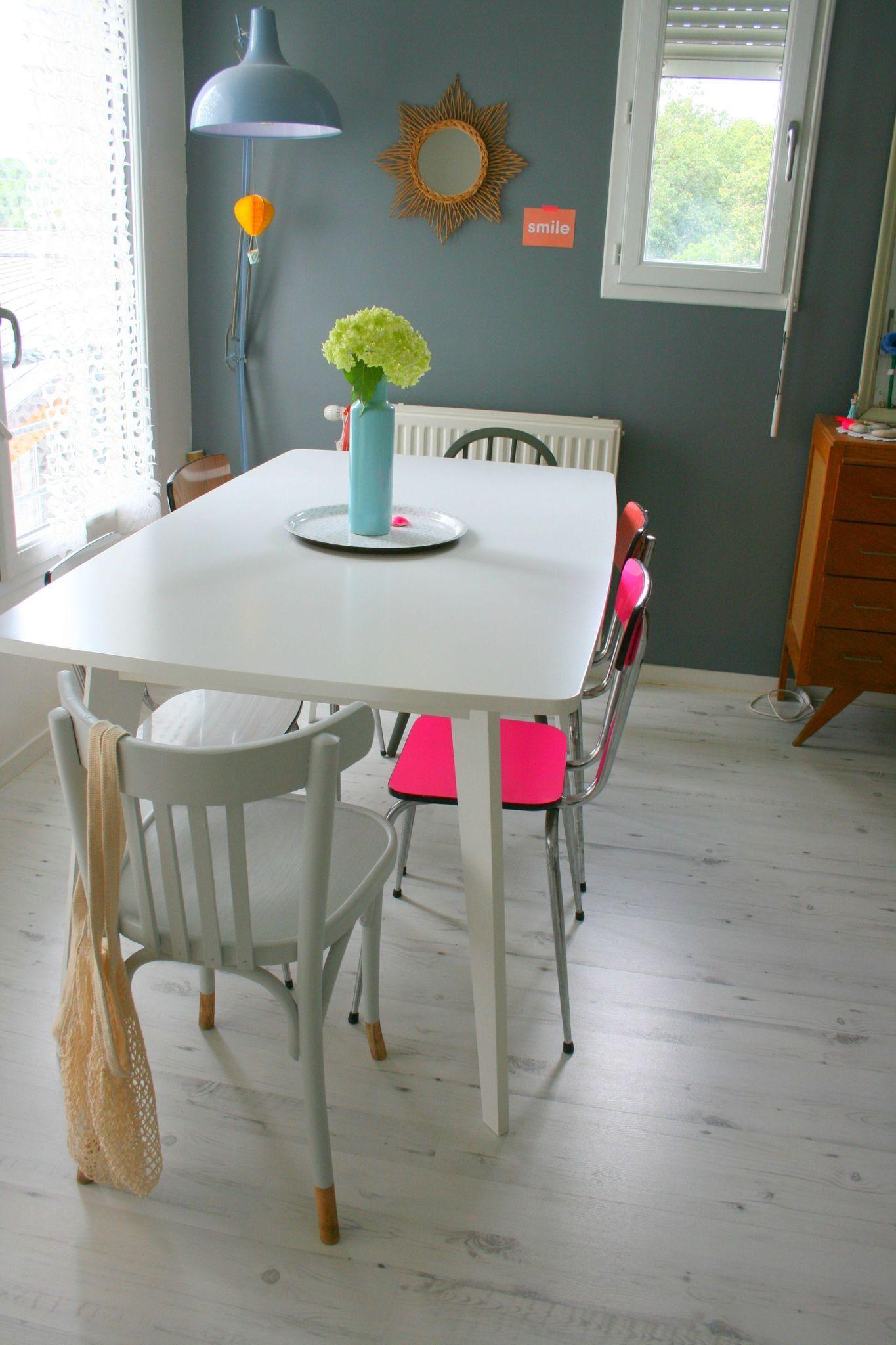 Gris lunaire belle couleur fluo et dans la cuisine for Chaise cuisine couleur
