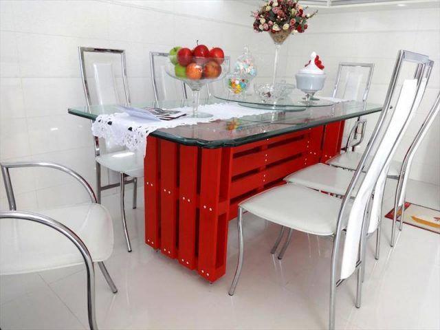 meuble palette bois verre table salle manger peinte