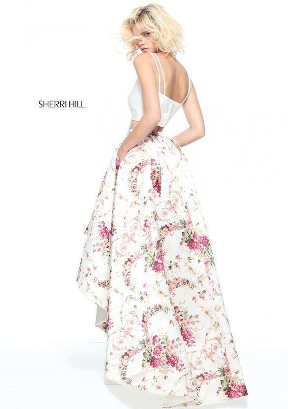 2017 Sherri Hill 51205 Two Piece Printed Sexy Prom Dress
