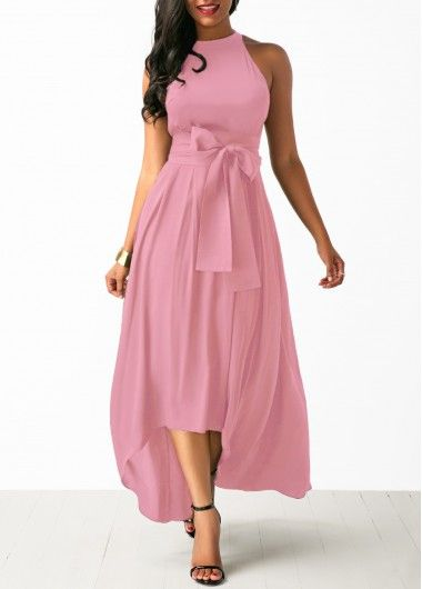 Pink Cardigan and High Low Belted Dress - KWEEKBOOK -   13 dress Coctel vestidos ideas