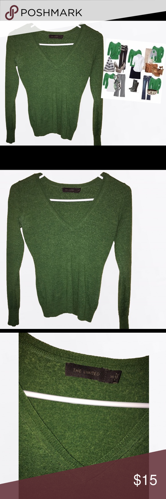 Green sweater- THE LIMITED Great condition.  Classic and vintage look The Limited Sweaters V-Necks