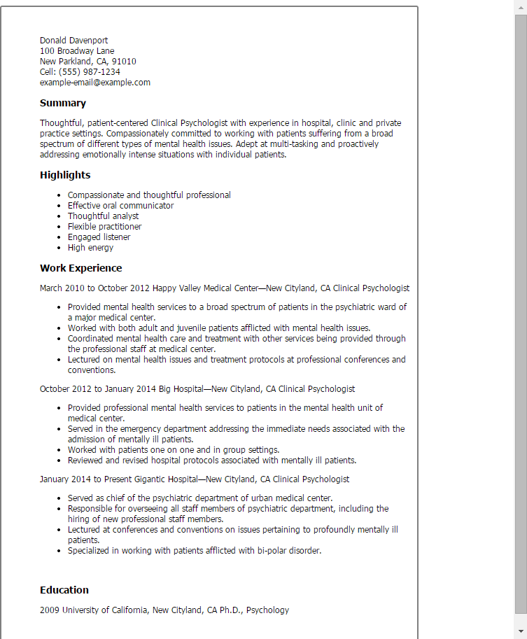 resume templates for psychologists