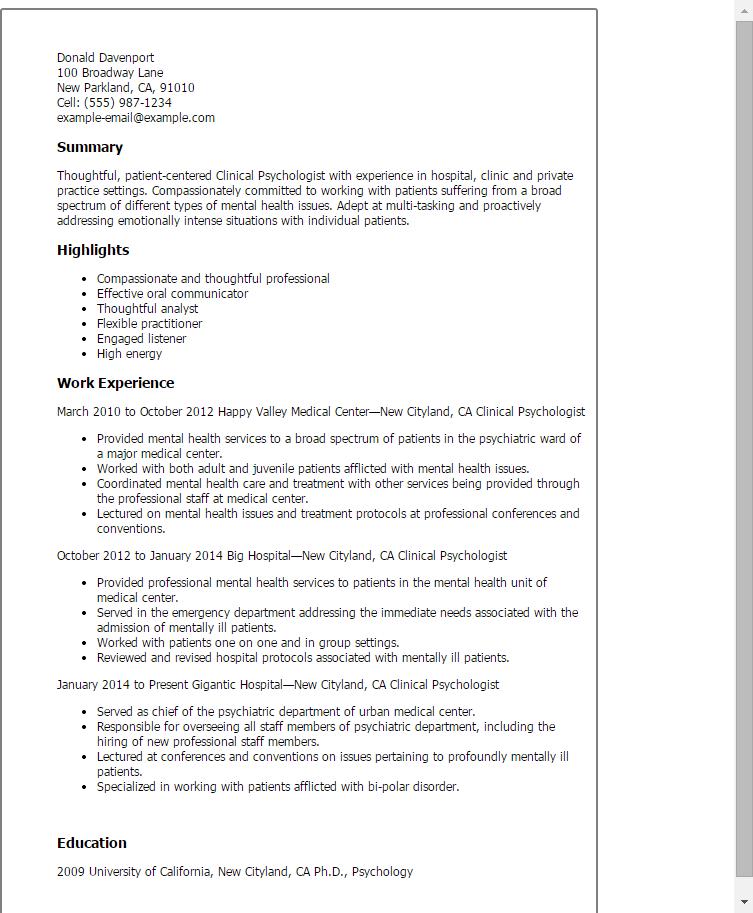 Cv Template Psychology Cvtemplate Psychology Template Clinical Psychologist Psychologist Psychology Degree