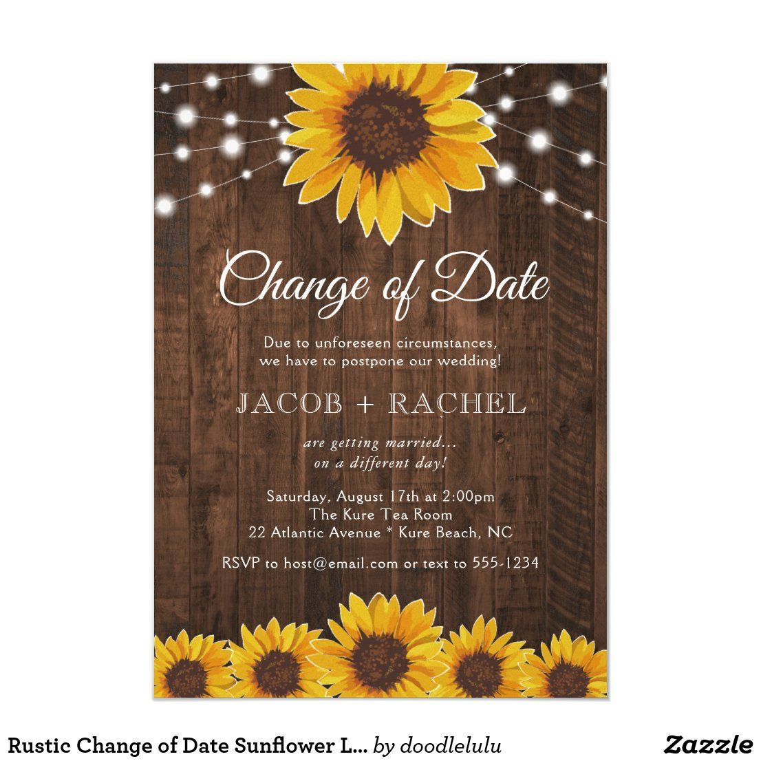 Rustic Change of Date Sunflower Lights Wedding Invitation