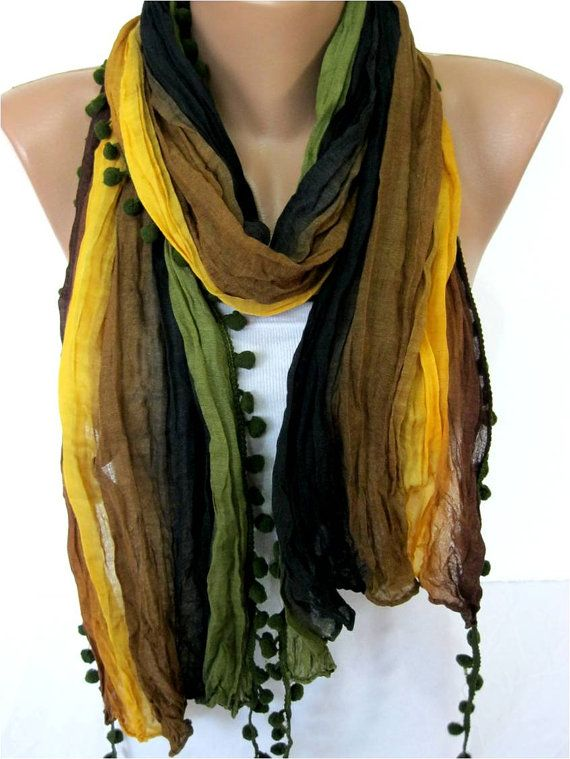 Multicolor Scarf Shawl Scarf Cowl Scarf by MebaDesign on Etsy