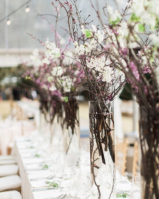 Wedding Photography Blog Ideas: Love The Drama Of These Blooming Branch Centerpieces In