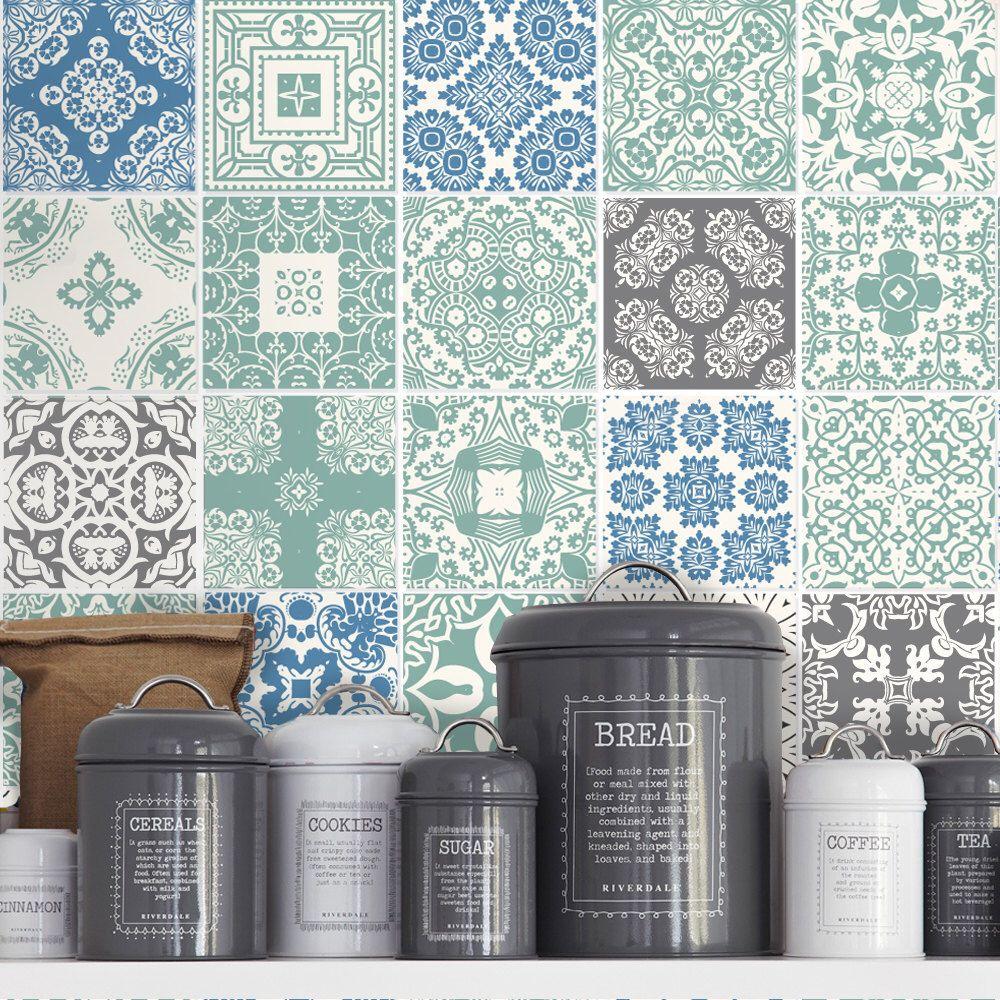 Kitchen Splashback Blue Pastel Tile Stickers Kitchen Tiles
