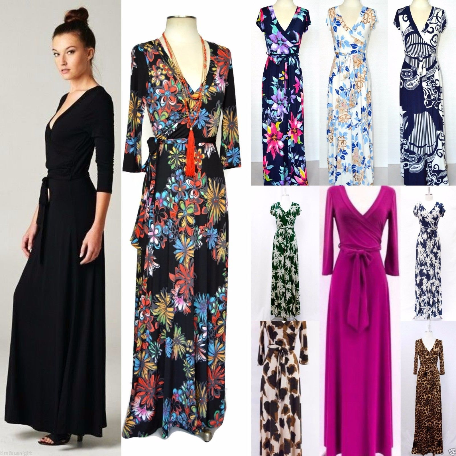 Long or short sleeve maxi wrap dress us solid printed janette la