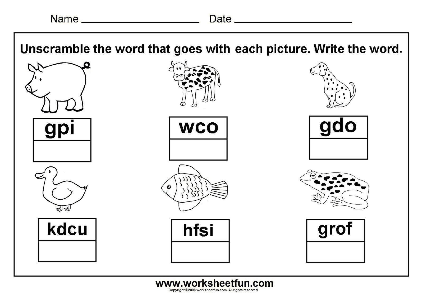 Unscramble Animal Cvc Words