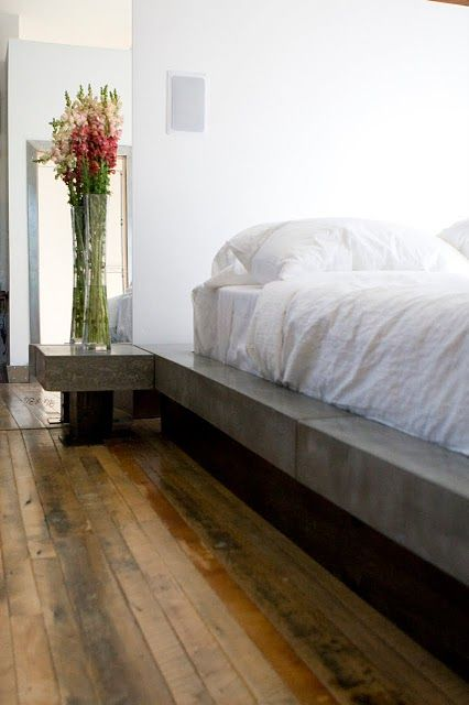 Beautiful Goth Bedrooms With Wood Floor: Concrete Bed, Wood Floors, Beautiful!