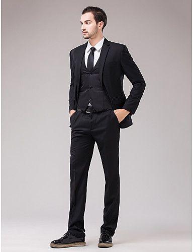 Black Serge Slim Fit Three-Piece Suit | Three piece suit, Wedding ...