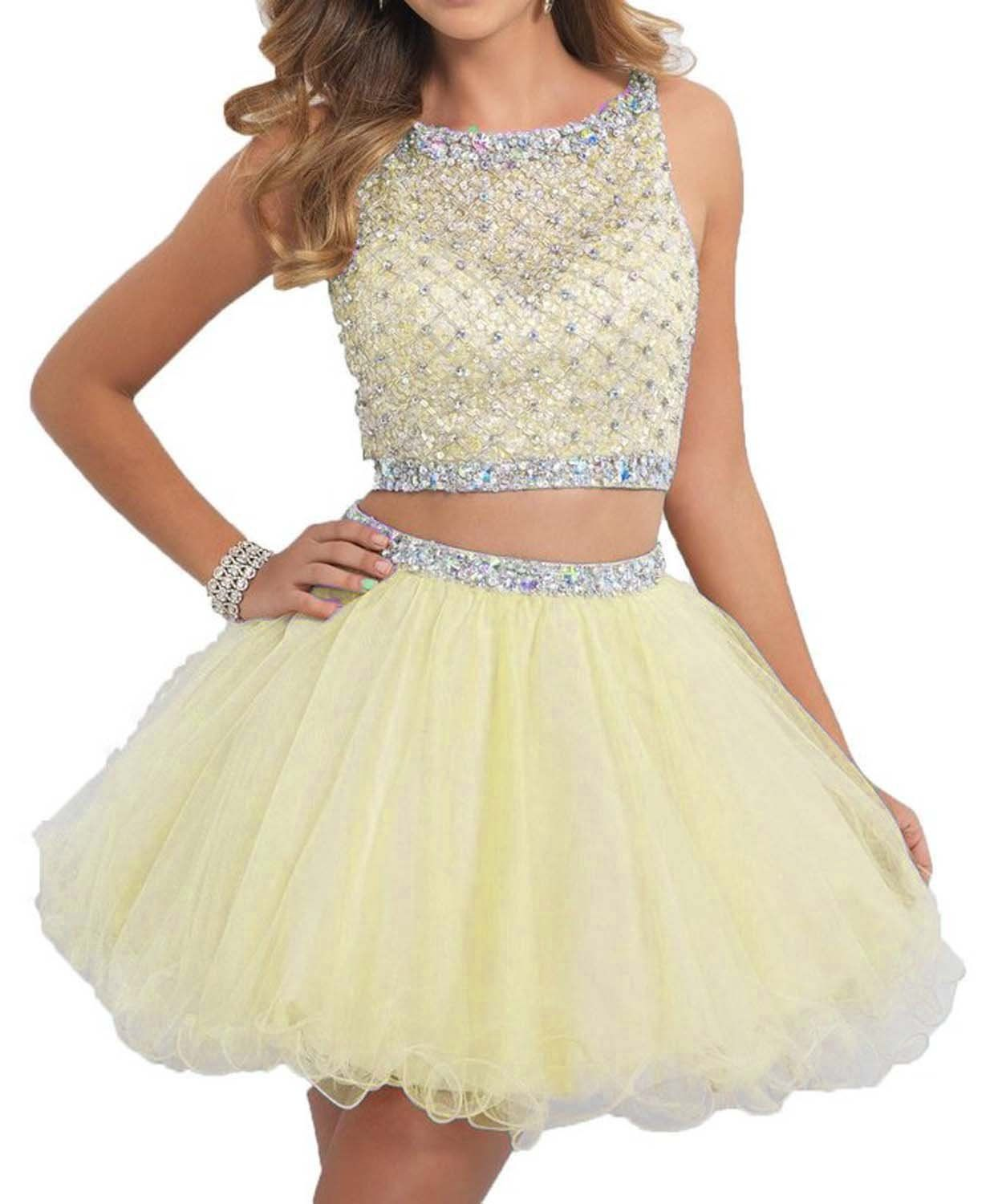 Promstar womenus two piece beaded prom homecoming gowns short party