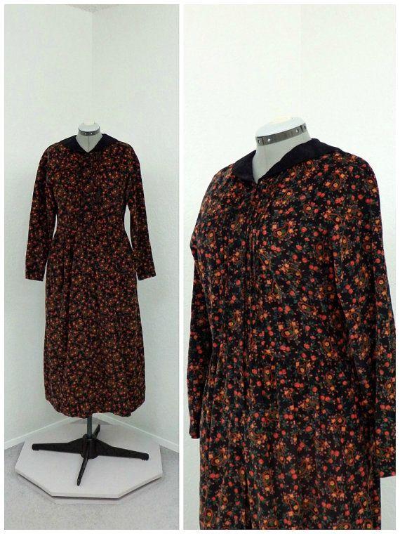 88a4950e0a Vintage 80s Eddie Bauer Black Corduroy Dress, Maxi Dress, Paisley ...
