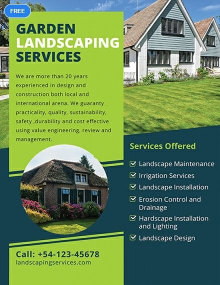 FREE Landscaping Flyer Template - Word (DOC) | PSD | Apple ...