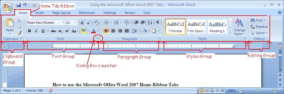 How To Use The Microsoft Office Word 2007 Home Ribbon Tab