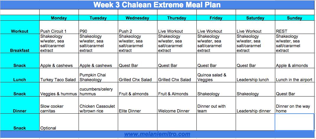 Meal Plan Chalean Extreme Progress Transformation Update