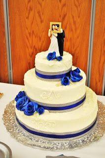 I Like The Idea Of A Simple Cake With Blue And Silver Ribbon Lalis