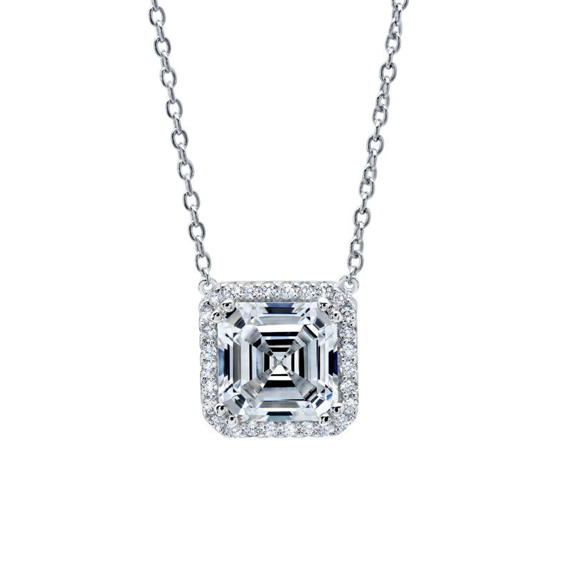 Asscher Cut Necklace with Halo by LAFONN in Platinum-Bonded Sterling Silver and Simulated Diamonds, MRSP $160.  3.45CTTW
