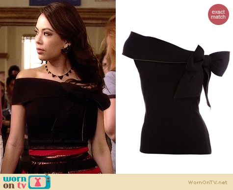 beb6e71ae8cf2 Mona s black off-shoulder top on Pretty Little Liars. Outfit Details  http