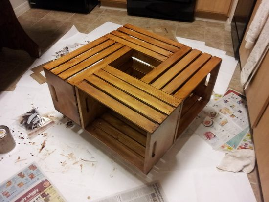 How To Make A Coffee Table Out Of Old Wine Crates Easy Diy Project Wine Crate Coffee Table Wooden Crate Coffee Table Crate Coffee Table