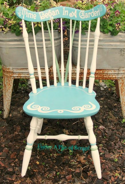 """Time Began In A Garden"" painted Garden Chair"