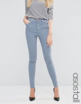 ASOS TALL Ridley High Waist Skinny Jeans in Nevaeh Grey