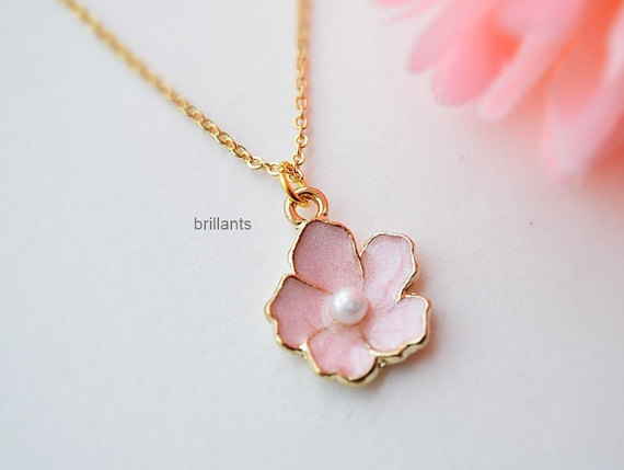 Cherry Blossom Necklace In Gold Sakura Necklace Pink Flower