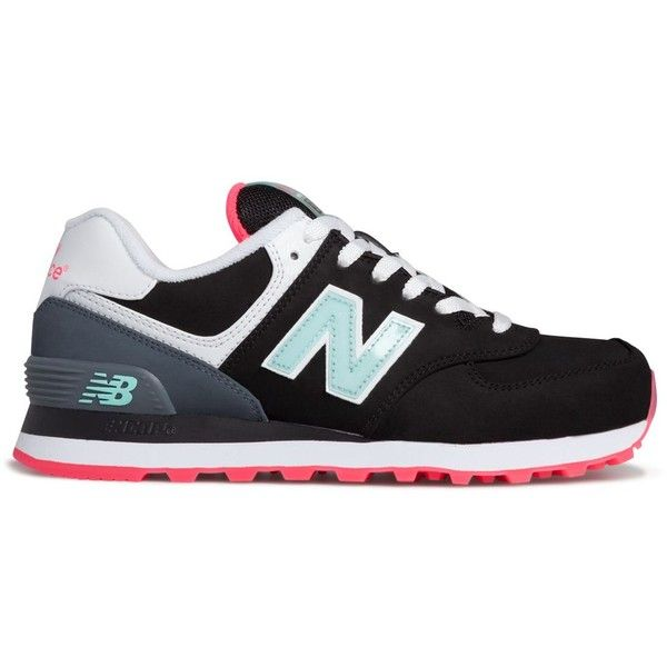 womens new balance black & pink 574 glacial trainers