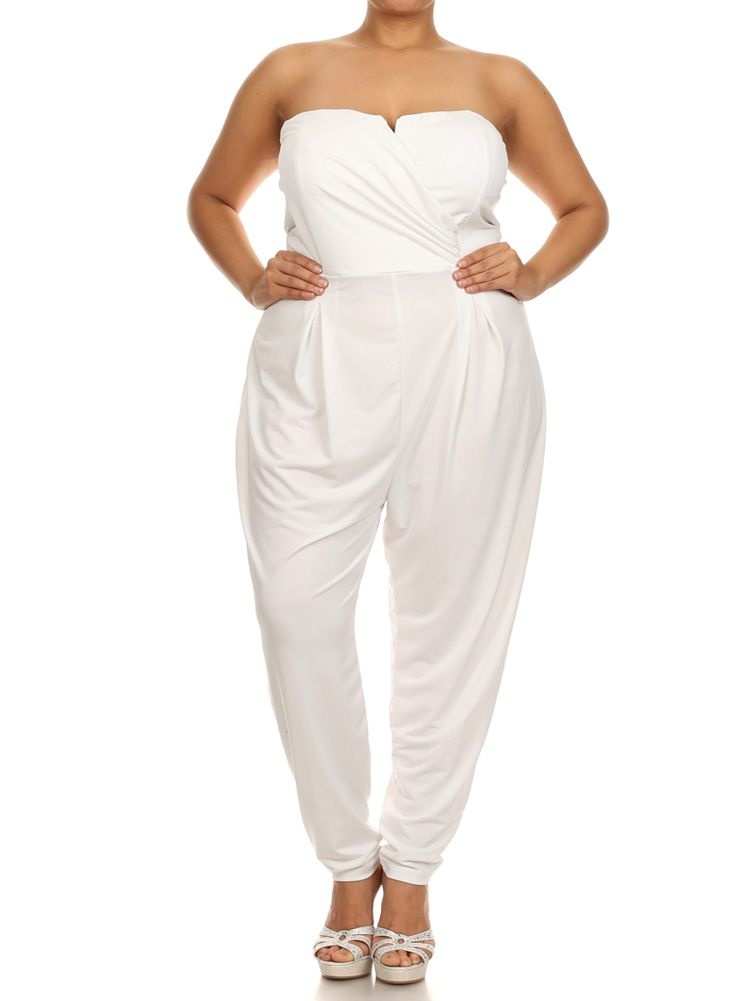 Plus Size Strapless Cross Over White Jumpsuit Plus Size Clothing