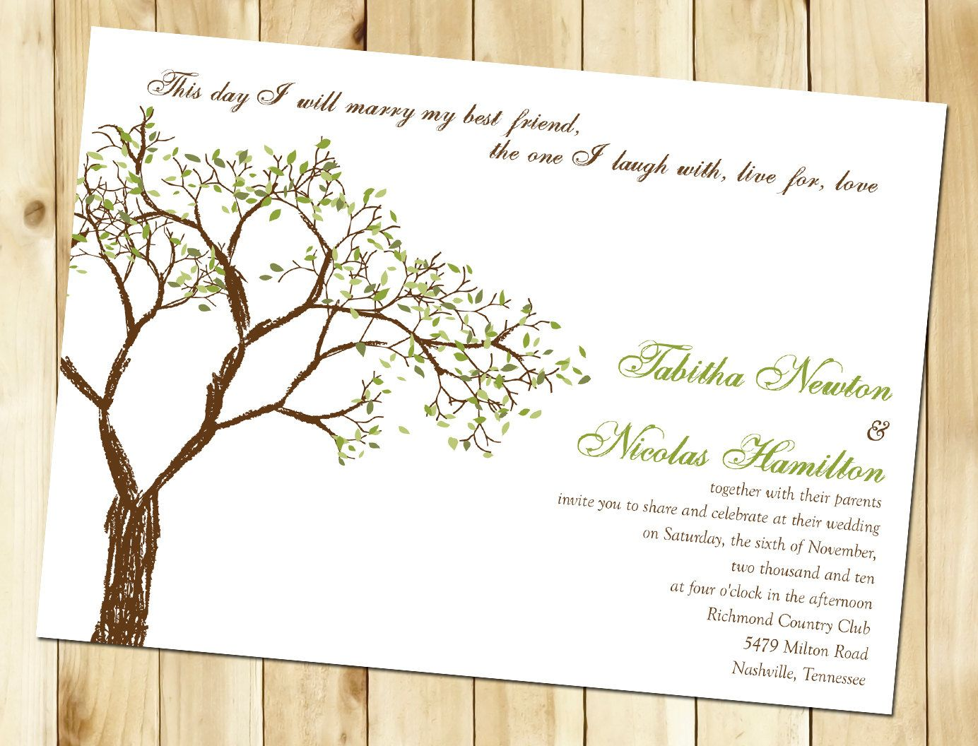 Fall Tree Wedding Invitation Sample by nmiphotocreations on Etsy