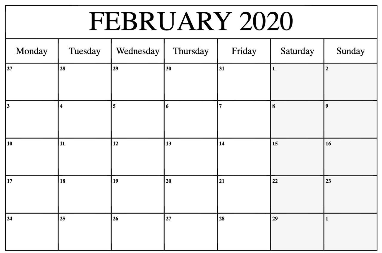 Blank February 2020 Calendar Template Pdf Word Excel Calendar