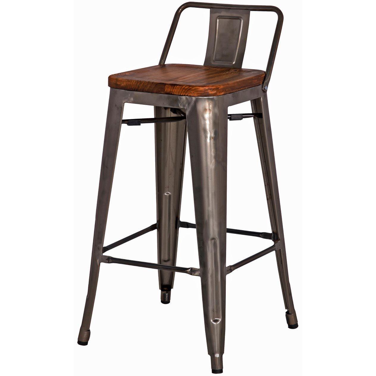 Metropolis Low Back Counter Stool Wood Seat, Gunmetal***SPECIAL ...