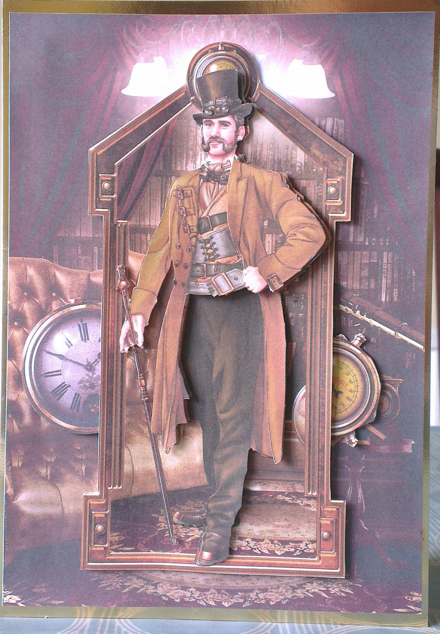Easel Card Featuring Topper From Debbi Moore Designs Steampunk Cd