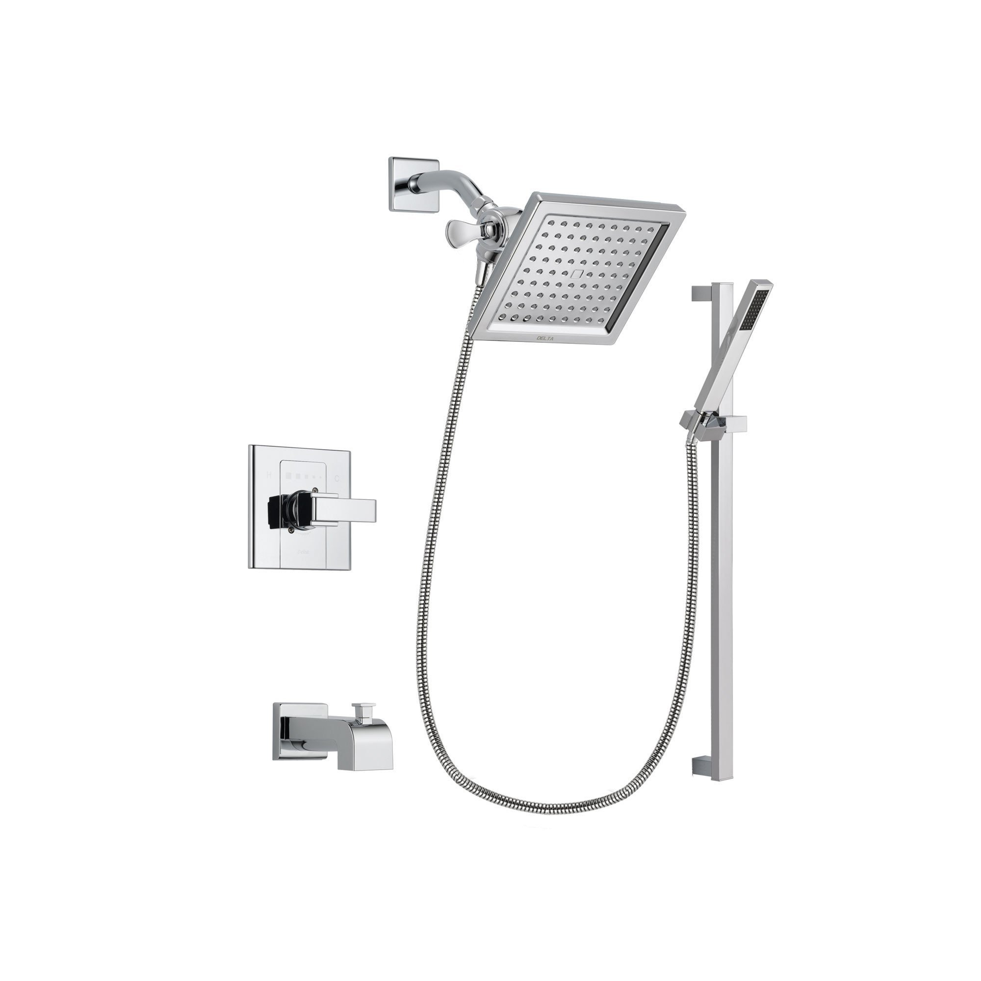 Delta Arzo Chrome Finish Tub And Shower Faucet System Package With
