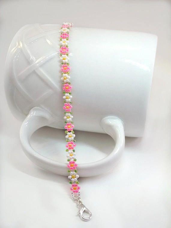"Photo of Pink Daisy Bracelet, Dainty Flower Bracelet, Beaded Pearl Jewelry, Daisy Gifts, Hippie Boho Bracelet, Adjustable 1 1/2 ""Extension Chain"