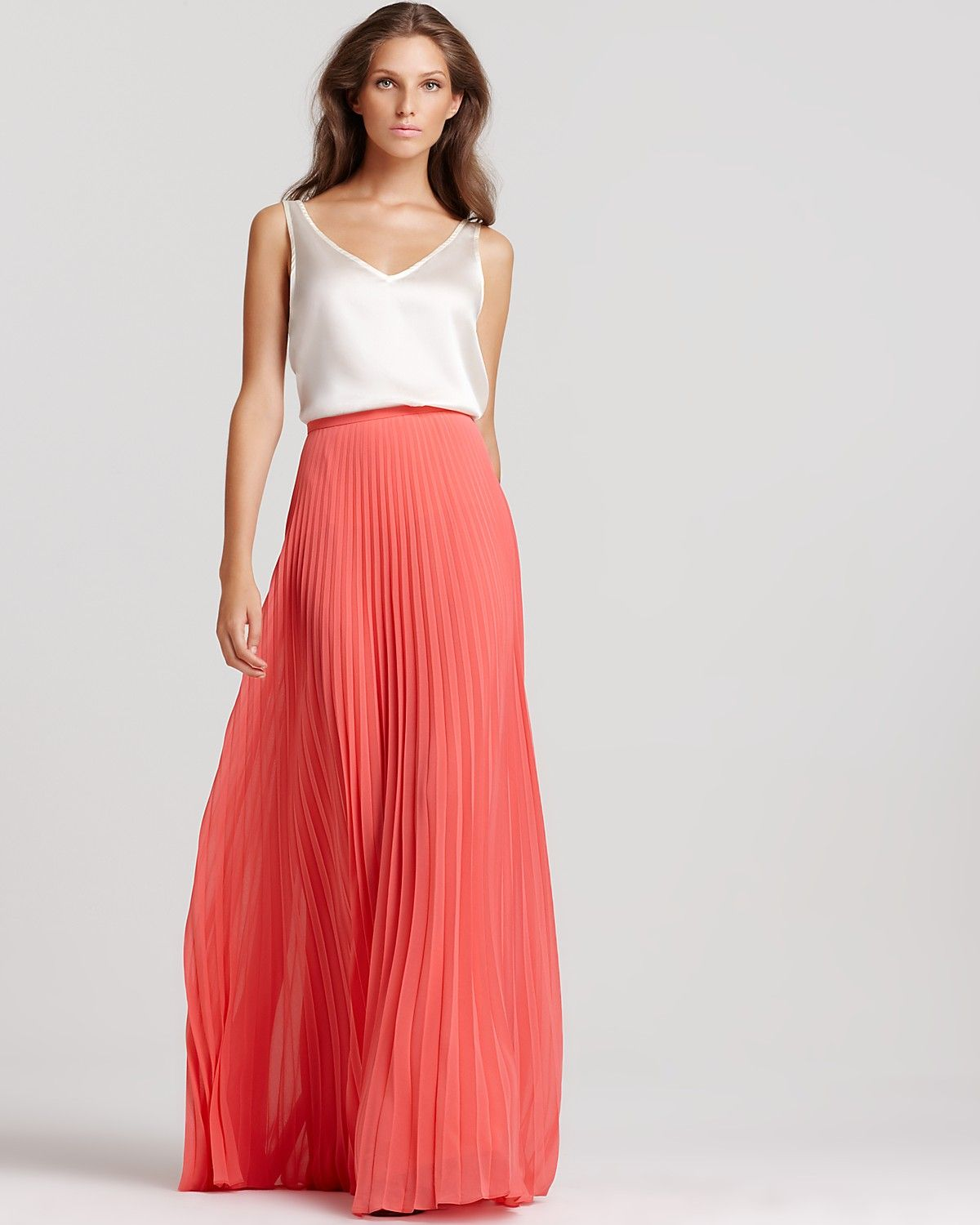 Satin Camisole   Pleated Maxi Skirt | Women: Style | Pinterest ...