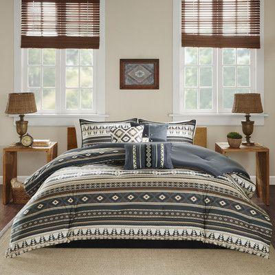 7 Piece Comforter Set Bed Skirt Western Southwest Aztec Rustic Blue Queen//King