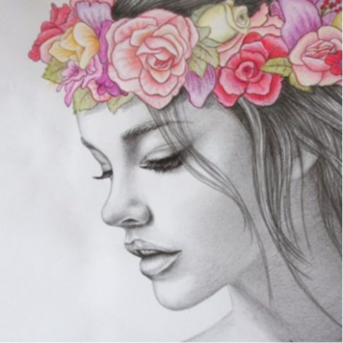 pretty drawing | Pretty drawings, Flower crown drawing, Crown drawing
