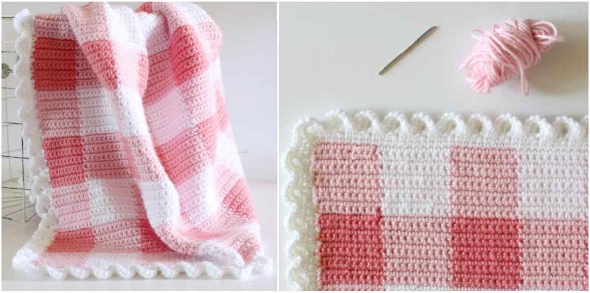 Pink Gingham Crochet Blanket - Free Pattern | Manta