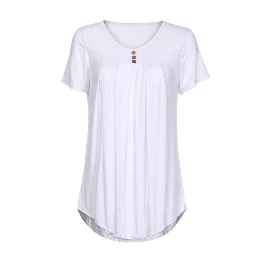 4c714bc8f4f ... FEITONG Womens Shirts Casual Pleats Blouse Short Sleeve Button up Tunic  Tops Solid Color Fit FlareMediumWhite * Learn more at the picture web link.
