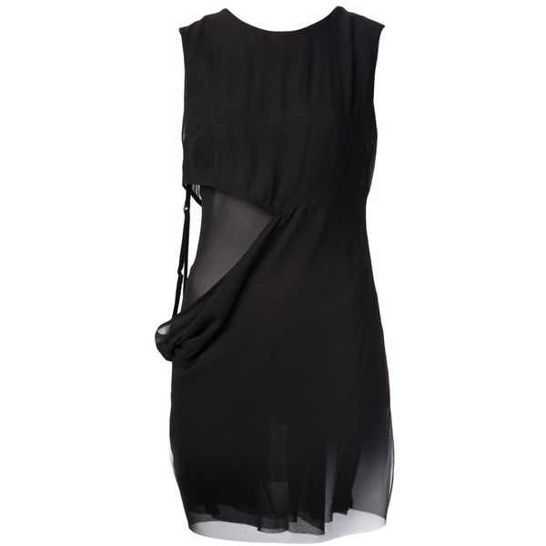 ANN DEMEULEMEESTER sheer cut-out dress (€535) ❤ liked on Polyvore featuring dresses, vestidos, short cocktail dresses, cut out dress, strappy dress, short dresses and transparent dress