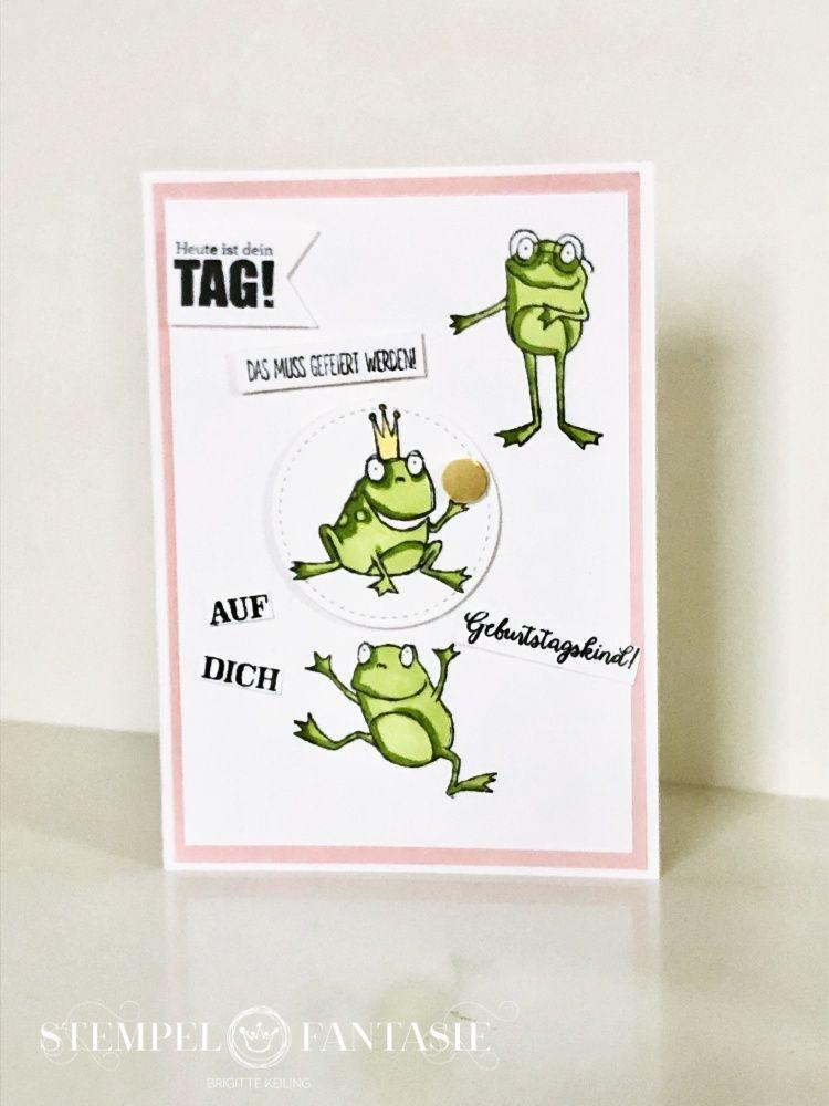 Froschkonig Karte Zum Geburtstag Karten Frosch Basteln Und